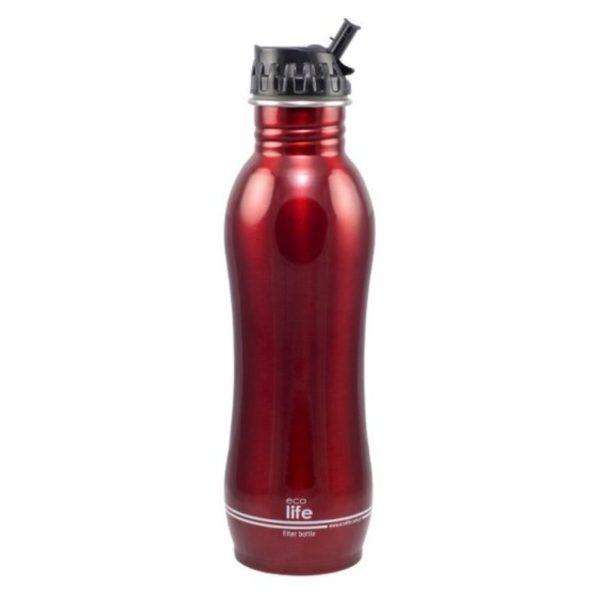Ανοξείδωτο Μπουκάλι Νερού Με Φίλτρο Κόκκινο 750ml