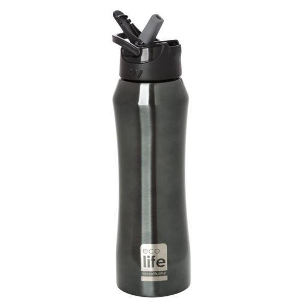 Ανοξείδωτο Μπουκάλι Θερμός Black Με Εσωτερικό Καλαμάκι 550ml