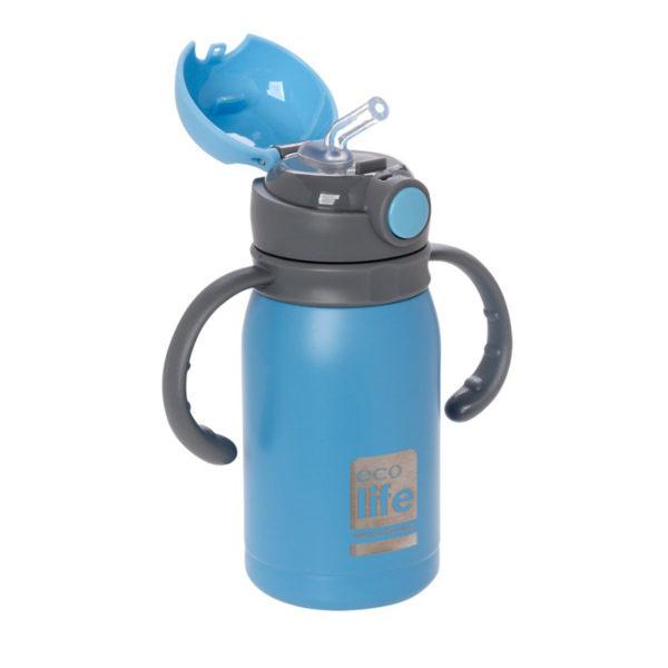 Ανοξείδωτο Μπουκάλι Θερμός Με Εσωτερικό Καλαμάκι Γαλάζιο 300ml
