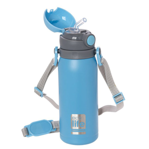 Ανοξείδωτο Μπουκάλι Θερμός Με Εσωτερικό Καλαμάκι Γαλάζιο 450ml