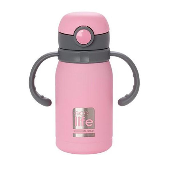 Ανοξείδωτο Μπουκάλι Θερμός Με Εσωτερικό Καλαμάκι Ροζ 300ml