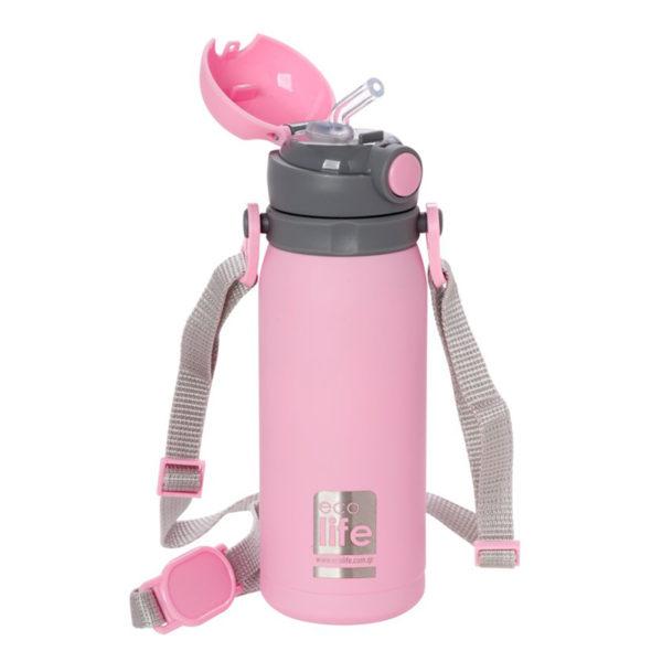 Ανοξείδωτο Μπουκάλι Θερμός Με Εσωτερικό Καλαμάκι Ροζ 450ml