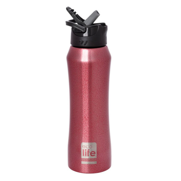 Ανοξείδωτο Μπουκάλι Θερμός Red Με Εσωτερικό Καλαμάκι 550ml