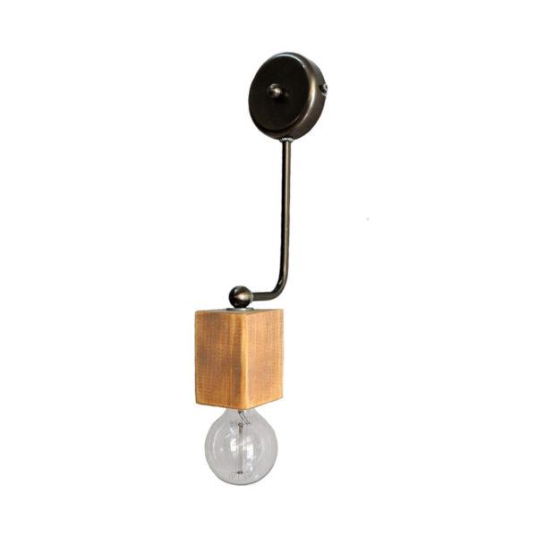 Απλίκα Μονόφωτη 'Κύβος' Ξύλο Με Μεταλλικό Βραχίονα Υ40