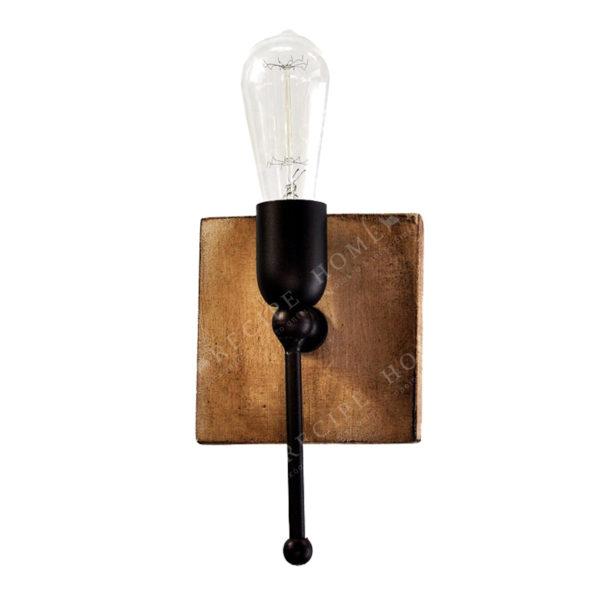 Απλίκα Μονόφωτη Σε Ξύλινη Τετράγωνη Βάση Με Μεταλλικά Μαύρα Στοιχεία 14x22