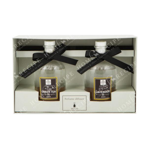 Αρωματικά Χώρου Σε Γυάλινα Μπουκαλάκια Green Tea/ Lavender 200ml, Σετ Των 2