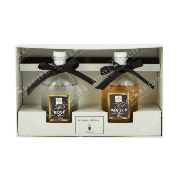 Αρωματικά Χώρου Σε Γυάλινα Μπουκαλάκια Rose /Vanilla 200ml, Σετ Των 2