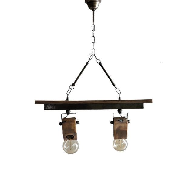 Μπάρα 2φωτη Ξύλινη 'Κύβοι' Με Κίνηση Στα Ντουί Natural Beige/ Μαύρο Μ60