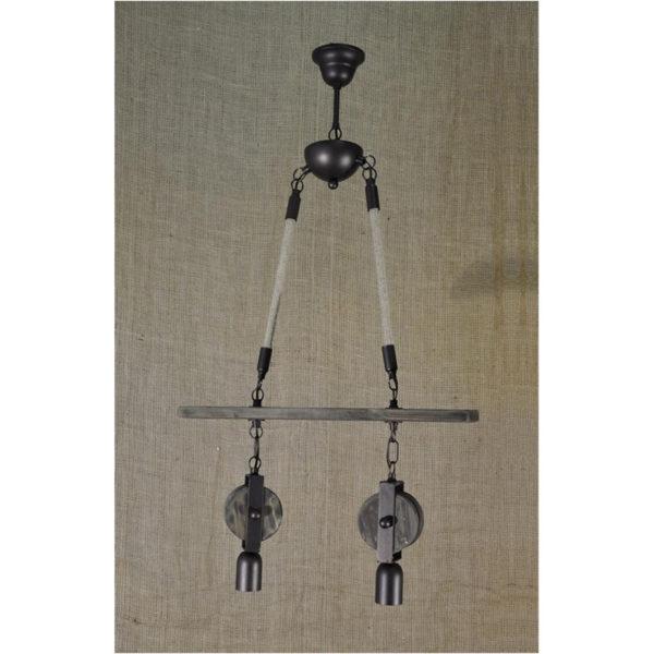 """Μπάρα Δίφωτη, Σχοινί - Ξύλο - Μεταλλικά Στοιχεία, 50x80, """"INITIAL"""""""