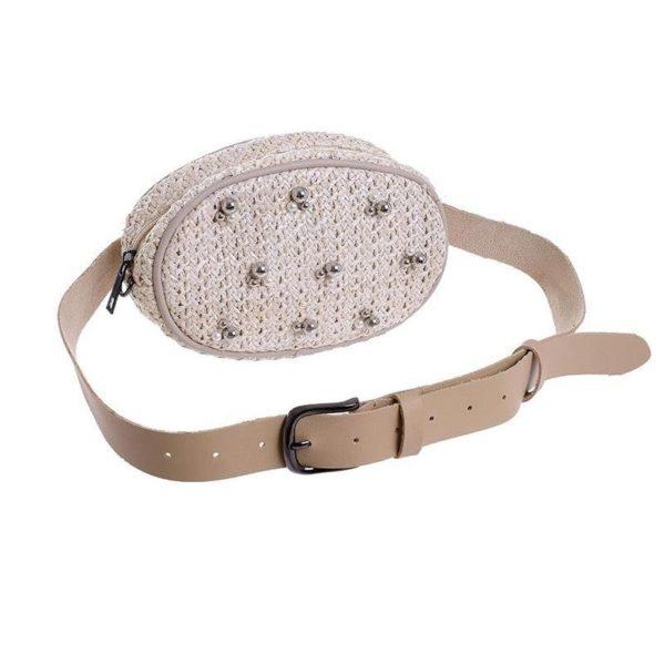 Belt Bag Natural Με Πέρλες 20x5x13/38