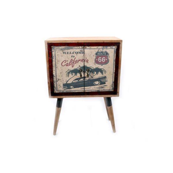 Μπουφεδάκι Ξύλινο Vintage Με 2 Πορτάκια, ''Garage'' 61x31x88