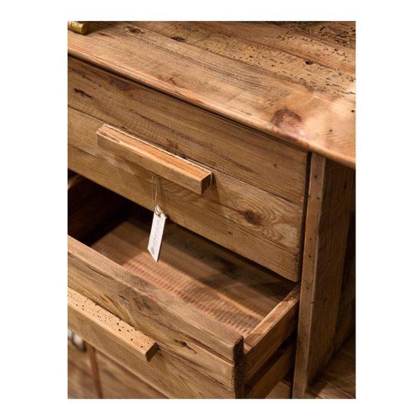 Μπουφές Από Παλαιωμένο Ξύλο Πεύκου Natural Με 4 Ράφια Και 4 Συρτάρια 120x40 Υ90