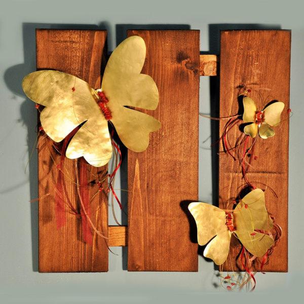 Χειροποίητες Μεταλλικές Πεταλούδες Σε Ξύλινο Τρίπτυχο Καφέ 42x40