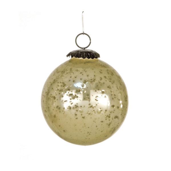 Χειροποίητη Χριστουγεννιάτικη Μπάλα Οξειδωμένο Γυαλί Σαμπανί 10cm, Σετ Των 2