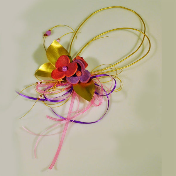 Χειροποίητη Σύνθεση Σε Μπρούντζινη Θηλιά Με Ροζ Μωβ Κεραμικά Άνθη