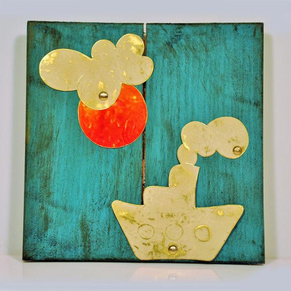 Χειροποίητο Καδράκι Ξύλινο Μπλε Με Μεταλλική Παράσταση Καράβι 24x24