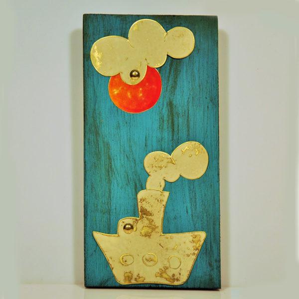 Χειροποίητο Καδράκι Ξύλινο Με Μεταλλική Παράσταση Καράβι 12x24