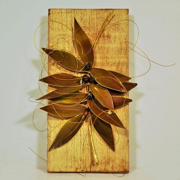 Χειροποίητο Κλαδί Ελιάς Μπρούντζινο Σε Ξύλινο Κάδρο Με Παλαίωση 12x24