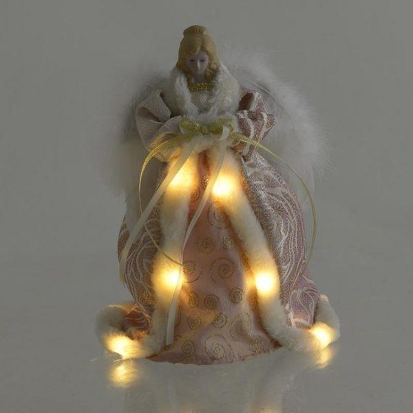Χριστουγεννιάκτικο Διακοσμητικό Άγγελος Ροζ Για Κορυφή, Led Υ30, Inart