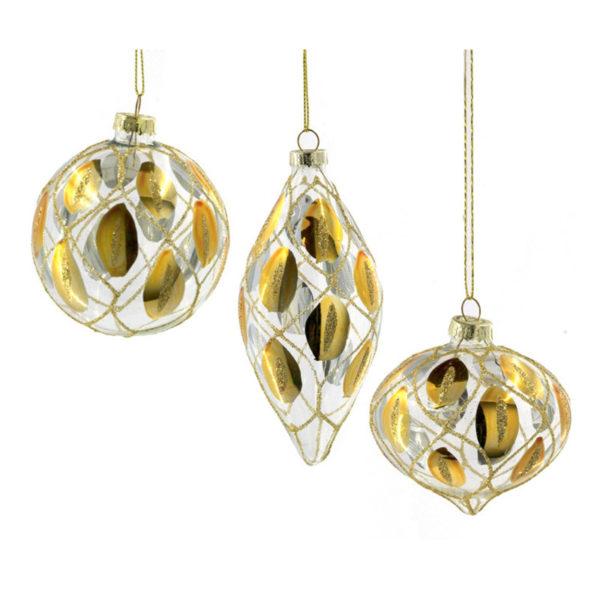 Χριστουγεννιάτικα Γυάλινα Στολίδια Διάφανα Με Χρυσό/ Ασημί Σχέδιο Και Glitter, 3 Σχέδια