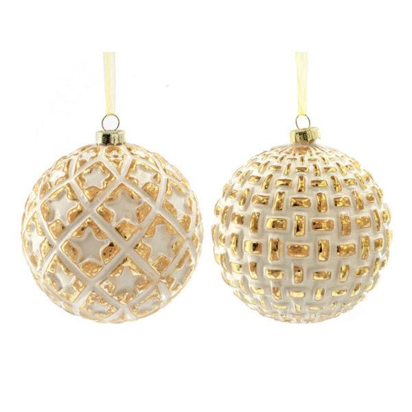 Χριστουγεννιάτικες Μπάλες Γυάλινες Ματ Λευκό/ Χρυσό Με Ανάγλυφα Σχέδια Υ10, Σετ Των 2