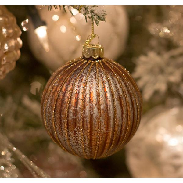 Χριστουγεννιάτικη Μπάλα Γυάλινη Χάλκινη/ Ασημί Μελανζέ Υ8, Σετ Των 2