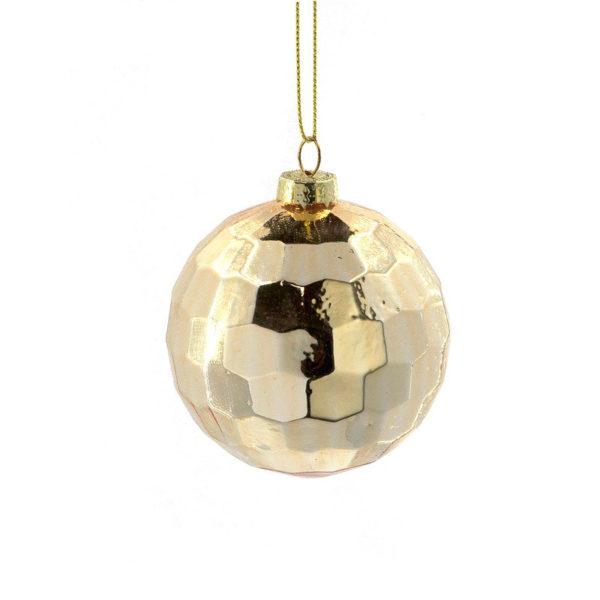 Χριστουγεννιάτικη Μπάλα Γυάλινη Χρυσή 'Disco' Y8