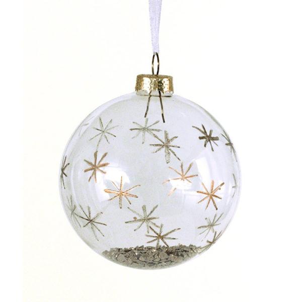 Χριστουγεννιάτικη Μπάλα Γυάλινη Διάφανη Με Χρυσές Πέτρες Υ8, Σετ Των 6