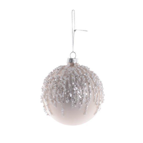 Χριστουγεννιάτικη Μπάλα Γυάλινη Εκρού Με Glitter, Σετ Των 6
