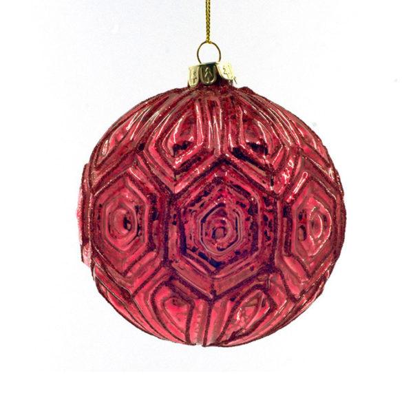 Χριστουγεννιάτικη Μπάλα Γυάλινη Κόκκινη Με Ανάγλυφα Σχέδια Υ10