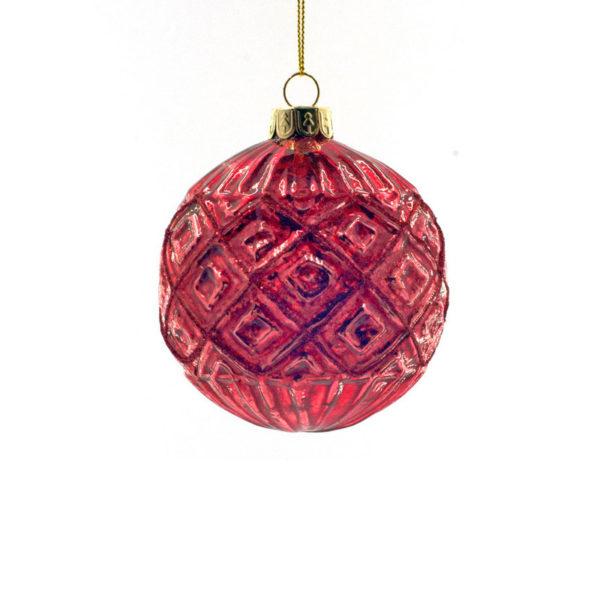 Χριστουγεννιάτικη Μπάλα Γυάλινη Κόκκινη Με Ανάγλυφα Σχέδια Υ8