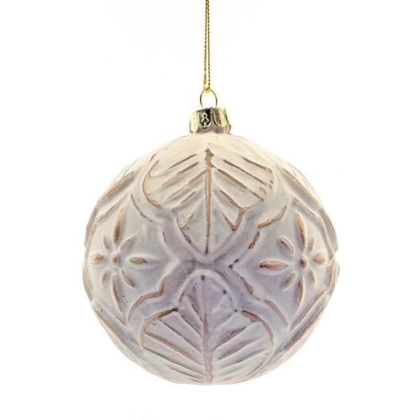 Χριστουγεννιάτικη Μπάλα Γυάλινη Λευκή/ Χάλκινη Με Ανάγλυφο Σχέδιο 10cm, Σετ Των 2