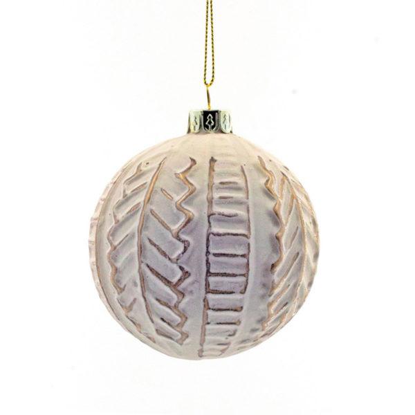 Χριστουγεννιάτικη Μπάλα Γυάλινη Λευκή/ Χάλκινη Με Ανάγλυφο Σχέδιο 8cm, Σετ Των 2