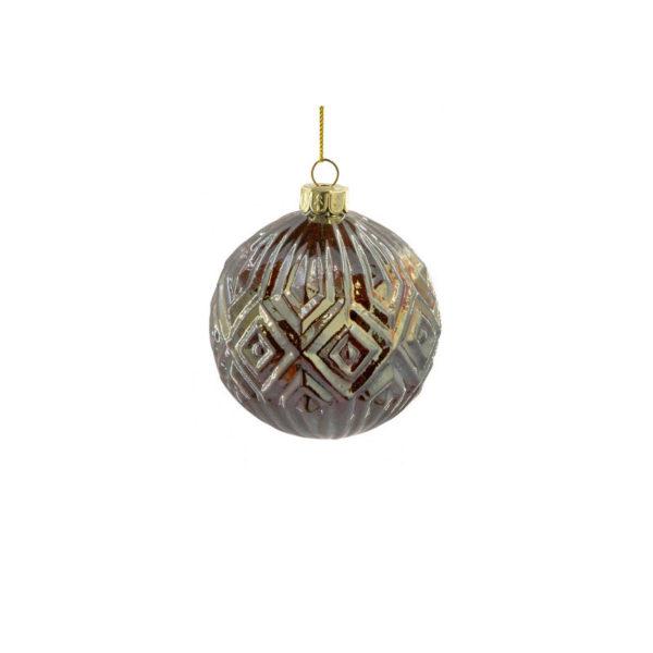 Χριστουγεννιάτικη Μπάλα Γυάλινη Μελανζέ Ανάγλυφη Χάλκινη Υ8, Σε 2 Σχέδια