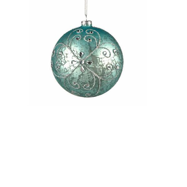 Χριστουγεννιάτικη Μπάλα Γυάλινη Σιέλ Με Ασημένιες Λεπτομέρειες Υ8