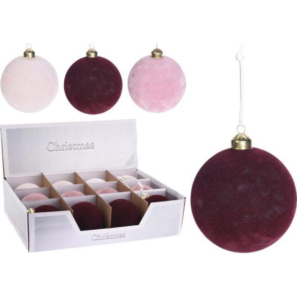 Χριστουγεννιάτικη Μπάλα Γυάλινη/ Βελουτέ Y8, Σε 3 Χρώματα | ZAROS