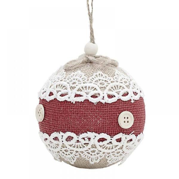 Χριστουγεννιάτικη Μπάλα Λευκή, Δαντέλα/ Κόκκινη Λινάτσα Και Κουμπάκια Δ10, Σετ Των 2