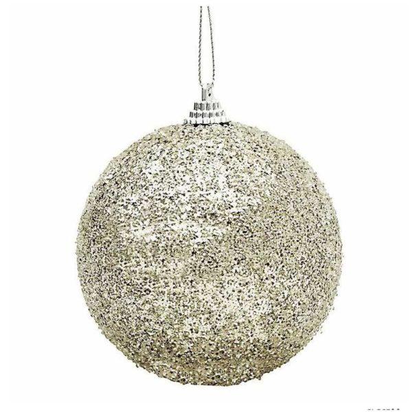 Χριστουγεννιάτικη Μπάλα Polyfoam Με Glitter Σαμπανί Δ10, Σετ Των 2