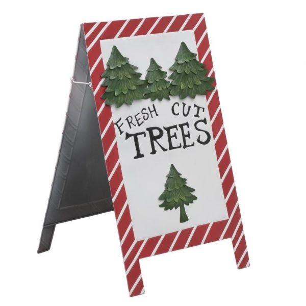 Χριστουγεννιάτικη Διακοσμητική Πινακίδα Μεταλλική Λευκό/ Κόκκινο Υ97