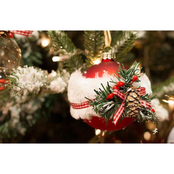 Χριστουγεννιάτικη Γυάλινα Στολίδια Κόκκινα Ματ Με Δέσιμο Κλαδιά, Σετ Των 2