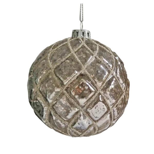 Χριστουγεννιάτικη Γυάλινη Μπάλα Αντικέ Σαμπανί Με Ασημί Δέσιμο 10cm, Σετ Των 2