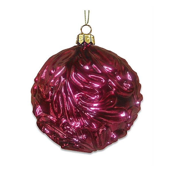 Χριστουγεννιάτικη Γυάλινη Μπάλα Burgundy Ανάγλυφα Φύλλα 11cm, Σετ Των 2