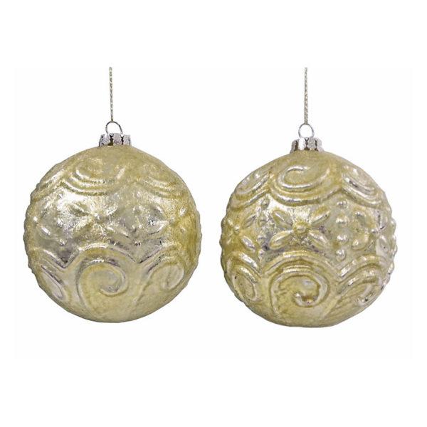 Χριστουγεννιάτικη Γυάλινη Μπάλα Με Ανάγλυφο Σχέδιο Χρυσό/ Ασημί, Σετ Των 2