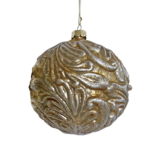 Χριστουγεννιάτικη Γυάλινη Μπάλα Μελανζέ Χρυσό/ Ασημί Ανάγλυφα Φύλλα 11cm, Σετ των 2