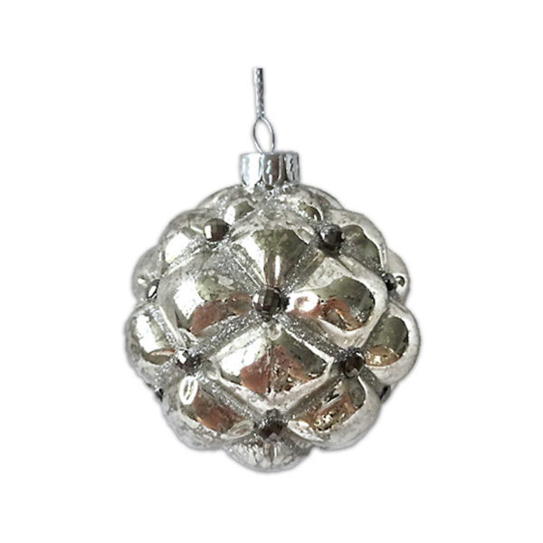 Χριστουγεννιάτικη Γυάλινη Μπάλα Μεταλλική Πέρλα Ασημί 8cm, Σετ Των 2