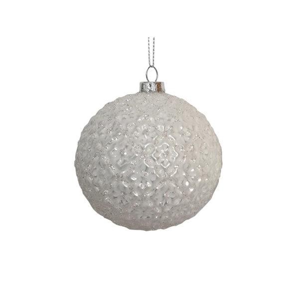 Χριστουγεννιάτικη Γυάλινη Μπάλα Περλέ Λευκό Ανάγλυφο Λουλούδι 8cm, Σετ Των 2
