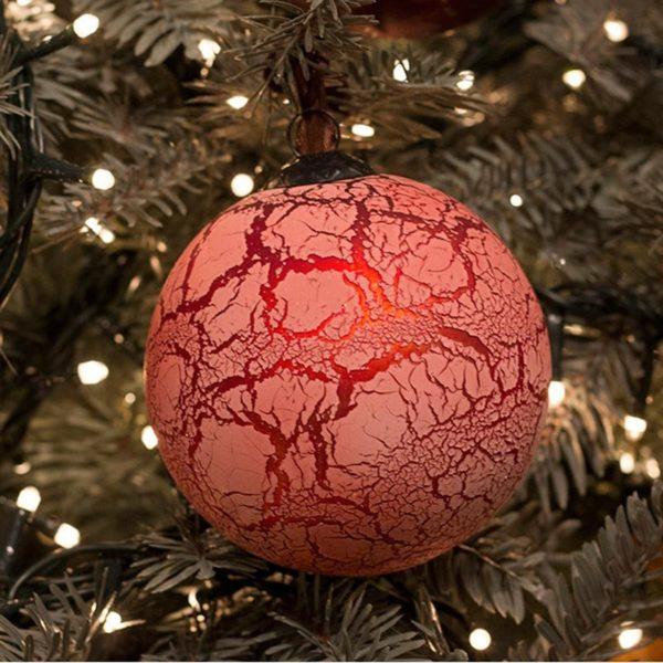 Χριστουγεννιάτικη Γυάλινη Μπάλα Στρογγυλή Κρακελέ Ροζ/ Χάλκινο 10cm, Σετ Των 2