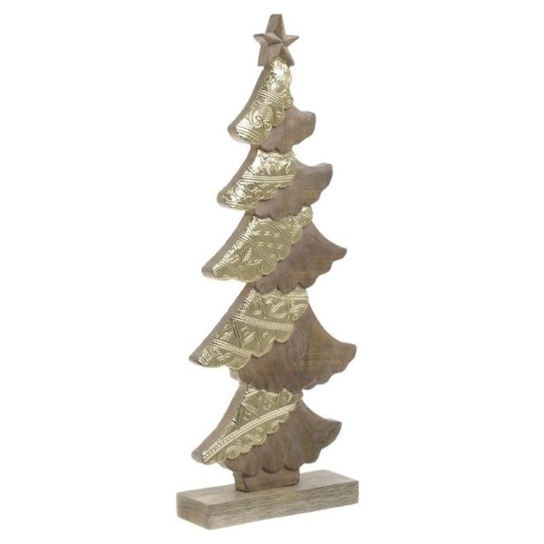 Χριστουγεννιάτικο Δεντράκι Ξύλινο Natural/ Χρυσό Υ35, B Inart