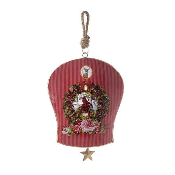 Χριστουγεννιάτικο Επιτοίχιο Στολίδι Μεταλλικό Κόκκινο ''Καμπάνα''