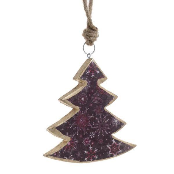 Χριστουγεννιάτικο Κρεμαστό Ξύλινο Στολίδι Με Επιχρύσωση Μωβ Δέντρο Υ18